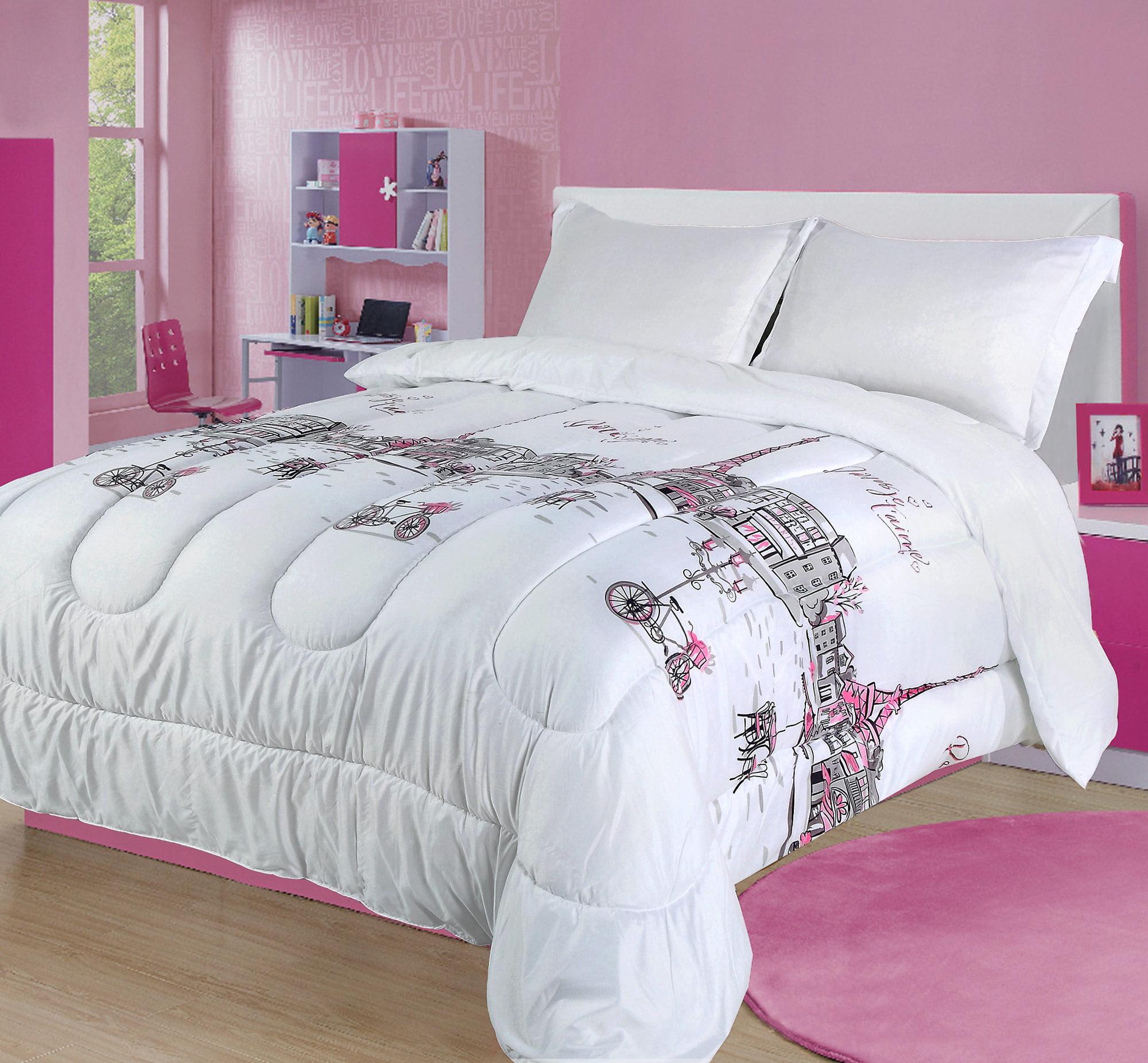 Twin Paris Comforter Bedding Set France Pink White Grey Eiffel Tower