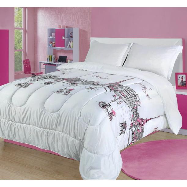 Twin Paris Comforter Bedding Set France Pink White Grey Eiffel