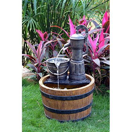ASC Solar Sunnysaze Old Fashioned Water Pump Kit with Barrel Fountain W/ Timer