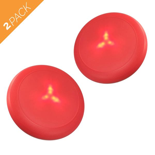 Flying Disc Dog Toy with Flashing LED Lights - Silicone Large Red Flyer,1 Pack