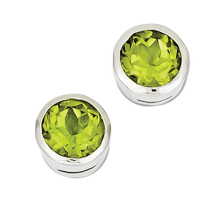 925 Sterling Silver Round Cut Peridot Stud Earrings