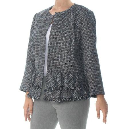NINE WEST Womens Navy Tweed Peplum Hem Jacket Plus  Size: 24W