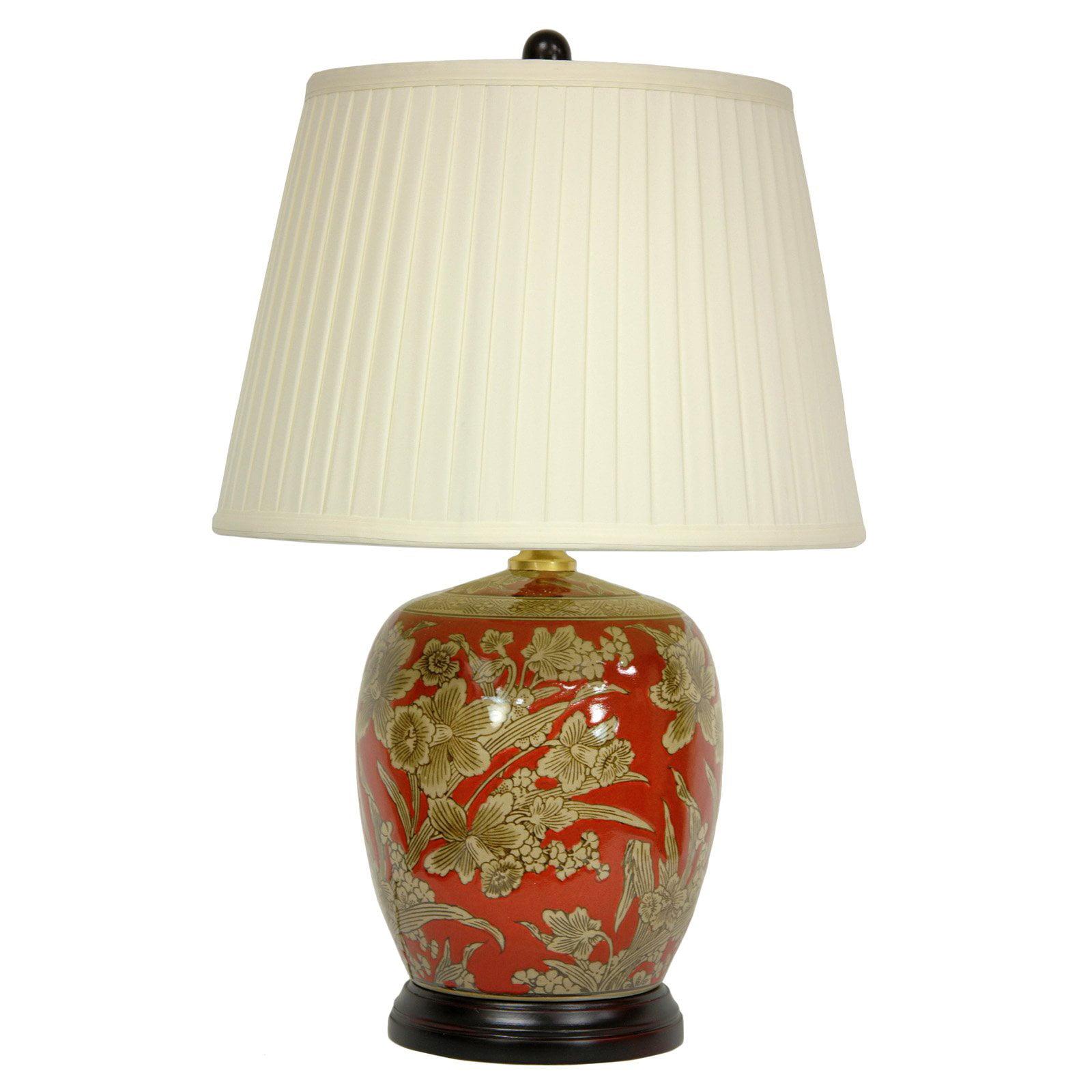 Oriental Furniture Floral Bouquet Jar Table Lamp Walmart Com
