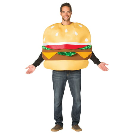 Slider Burger Men's Adult Halloween Costume, One Size, (40-46) (Burger King Halloween Outfit)