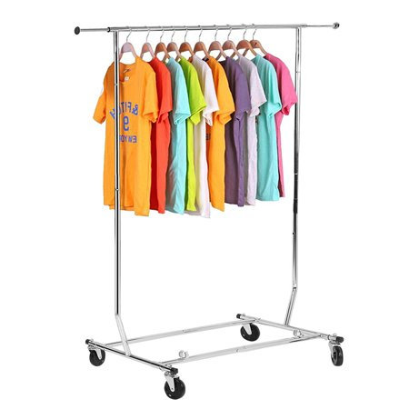 Heavy Duty Garment Rack Commercial Grade Adjustable Clothing Rolling Steel Clothes