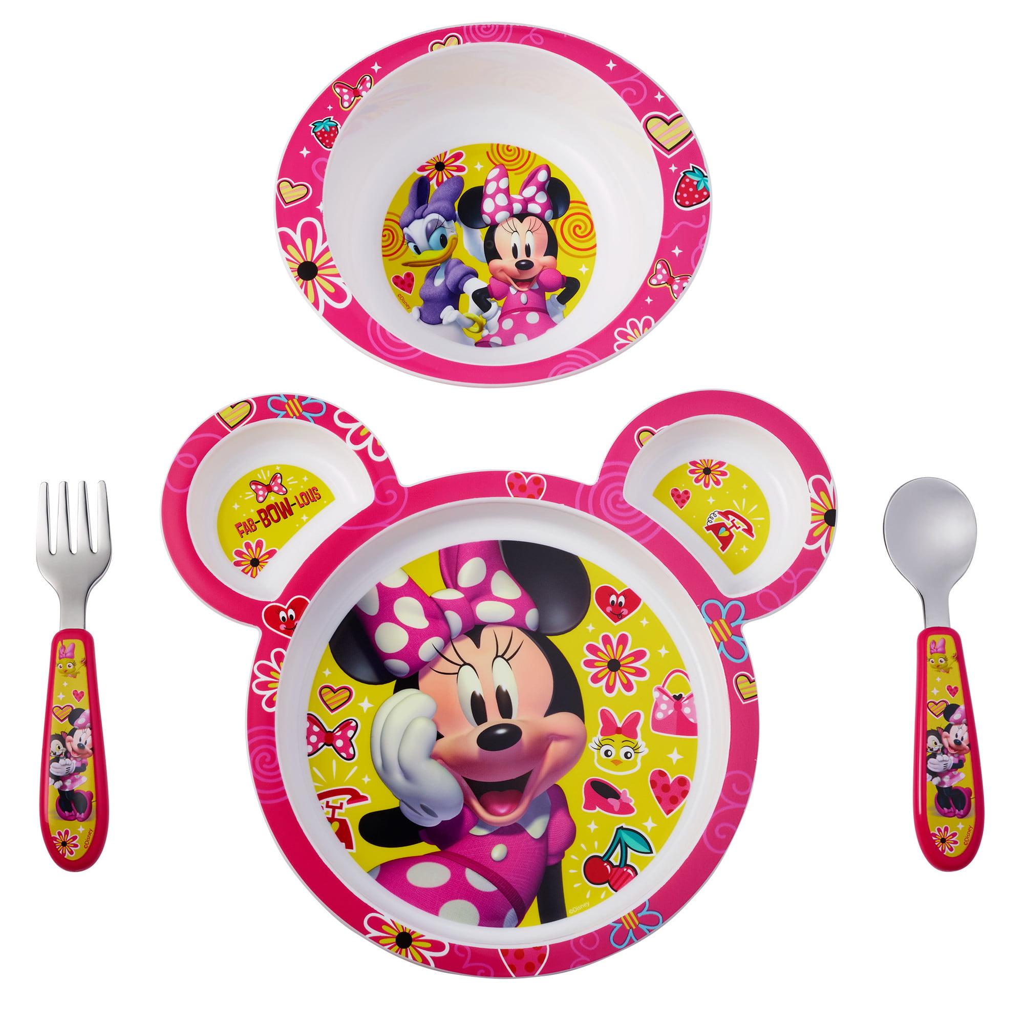 Disney Minnie Mouse Feeding Set Minnie Mouse Plate Bowl Knife Fork Set 4 Pieces Walmart Com Walmart Com