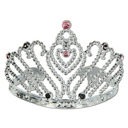 Club Pack of 12 Silver, Black and Pink Bachelorette Princess Tiara Costume Accessories - Bachelorette Costume