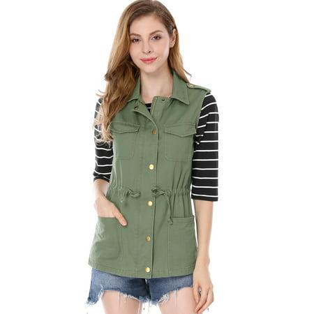 Cotton Sleeveless Vest - Women's Sleeveless Functional Pockets Drawstring Waist Cargo Vest Jacket Coat