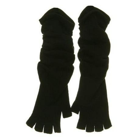 Fingerless Long Wrinkle Glove - Black - Black Spiderman Gloves