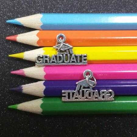 2 PCS - Graduate Graduation Word Message Tag Silver Charm Pendant C1252 Diamond Girl Graduate Charm