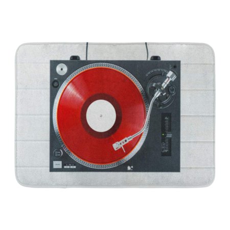 GODPOK Turntable Vinyl Record Player on The White Wooden Boards Sound Technology for Dj to Mix Play Music Needle Rug Doormat Bath Mat 23.6x15.7 inch