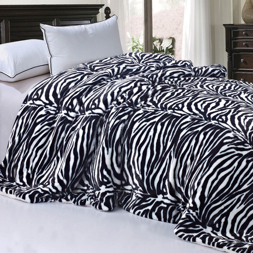 BOON Throw & Blanket Zebra Faux Fur Sherpa Backing Cover Queen