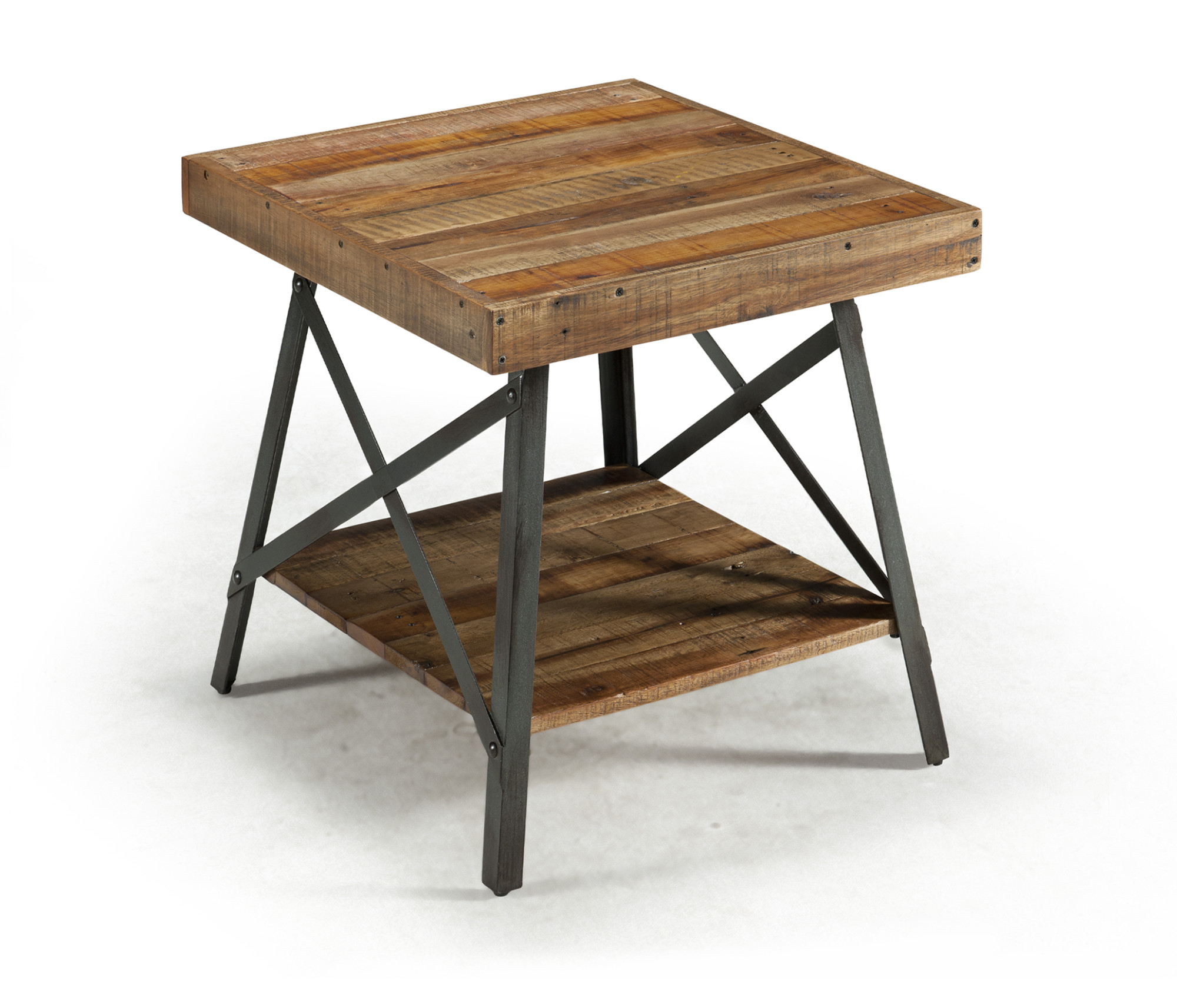 Emerald Home Chandler Rustic Wood End Table With Solid Wood Top, Metal  Base, And