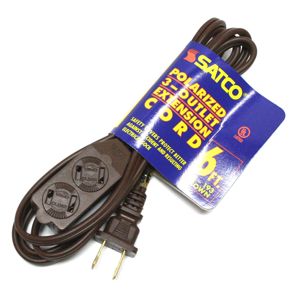 Satco 93193 - 6' Brown Extension Cord