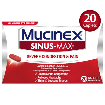 Mucinex Sinus-Max Severe Congestion Relief Caplets, 20 count, Triple Action (Best Over The Counter Severe Cold Medicine)