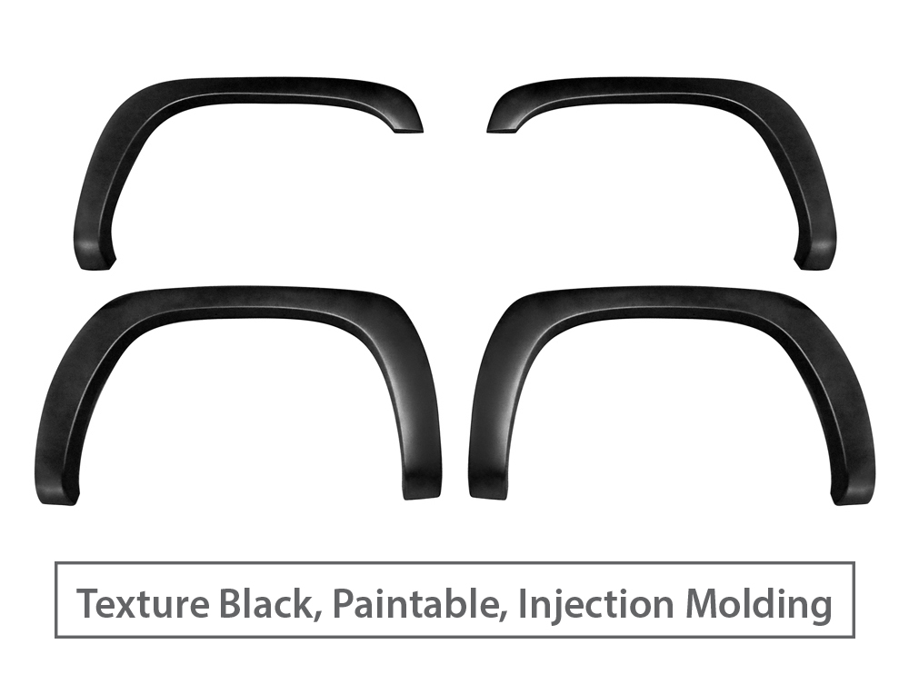 Rough-Textured Black Paintable Pocket Bolt-Riveted Style 4pc Incl. 2007 Classic Models MaxMate Premium Fender Flares for 1999-2006 Chevy Silverado//GMC Sierra