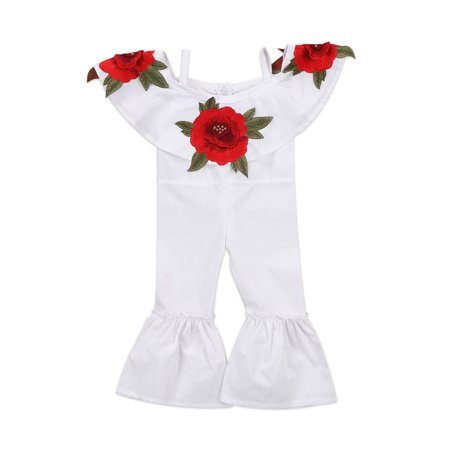 Embroidery Flowers Kids Baby Girl Off-Shoulder Romper Jumpsuits Bodysuit Bell Bottom Pants Trousers Outfit Clothes ()