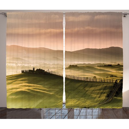 Tuscan Decor Curtains 2 Panels Set, Italian Countryside Road With Trees And Meadows By The Mountains Mediterranean Culture, Living Room Bedroom Accessories, By Ambesonne