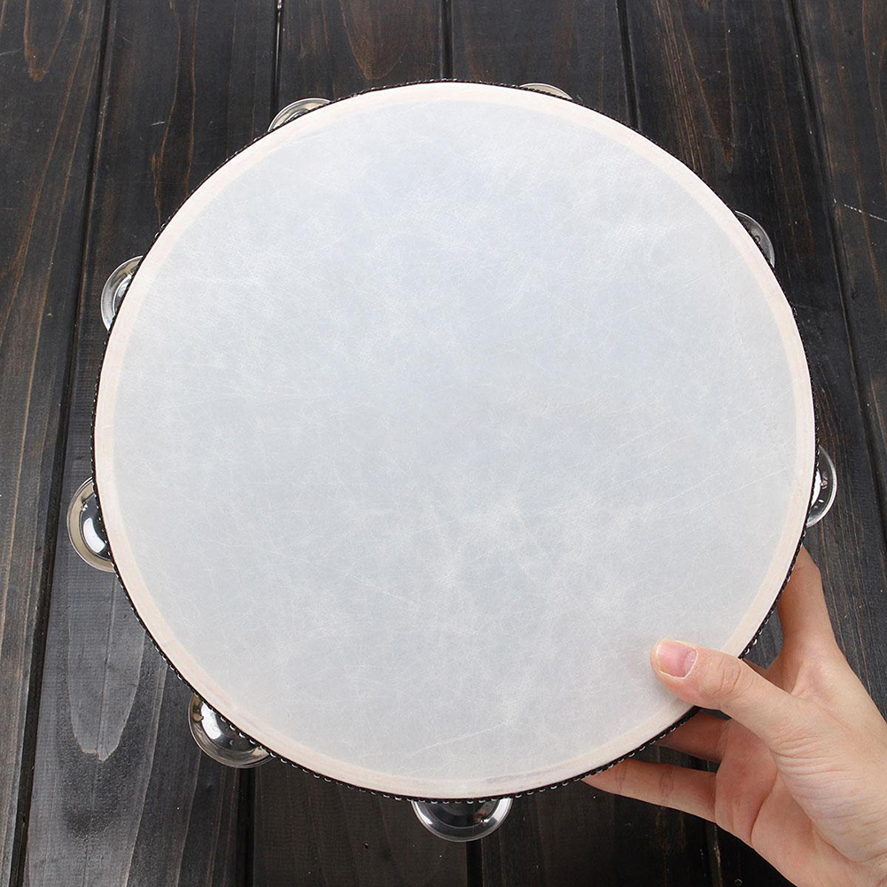Moderna 10 inches Faux Leather Head Drum Tambourine Party Musical Percussion Instrument