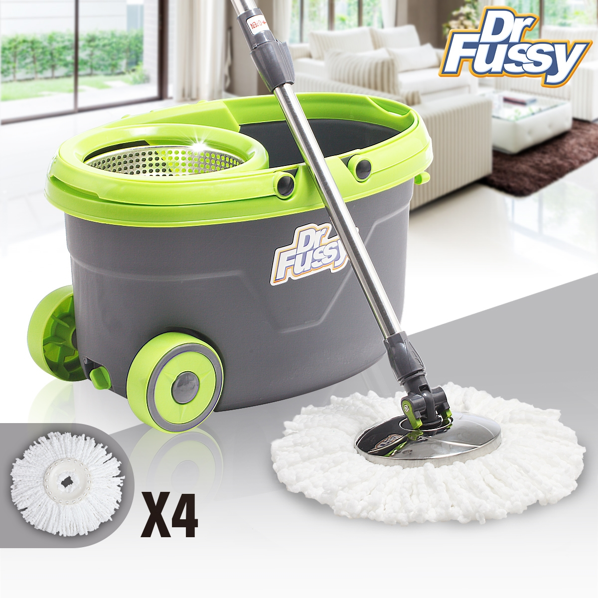 360 Easy Wring Spin Mop and Stainless Steel Bucket System with Wheels Includes 4 Free... by YY