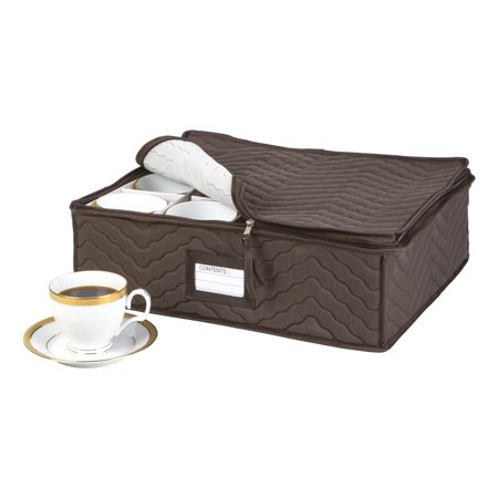 Quilted China Cup Storage in Brown (6 Piece China Storage)