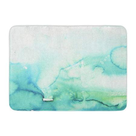KDAGR Teal Watercolour Watercolor Turquoise Mint Ombre Hand Blue Gradient Doormat Floor Rug Bath Mat 23.6x15.7 inch