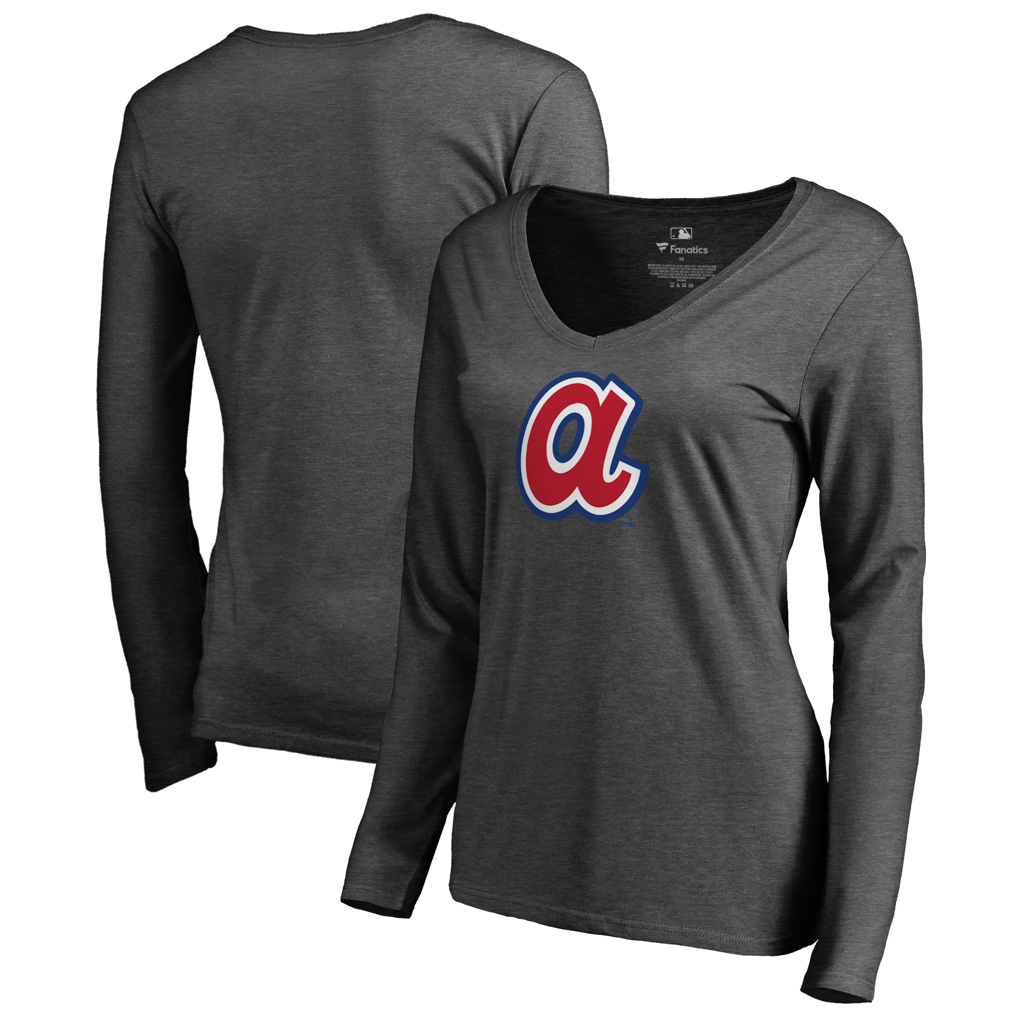 Atlanta Braves Fanatics Branded Women's Cooperstown Collection Huntington Long Sleeve V-Neck T-Shirt - Heathered Gray