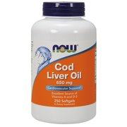 Now Foods Cod Liver Oil 2x 2500/270 A/D Soft-gels, 650 mg, 250-Count