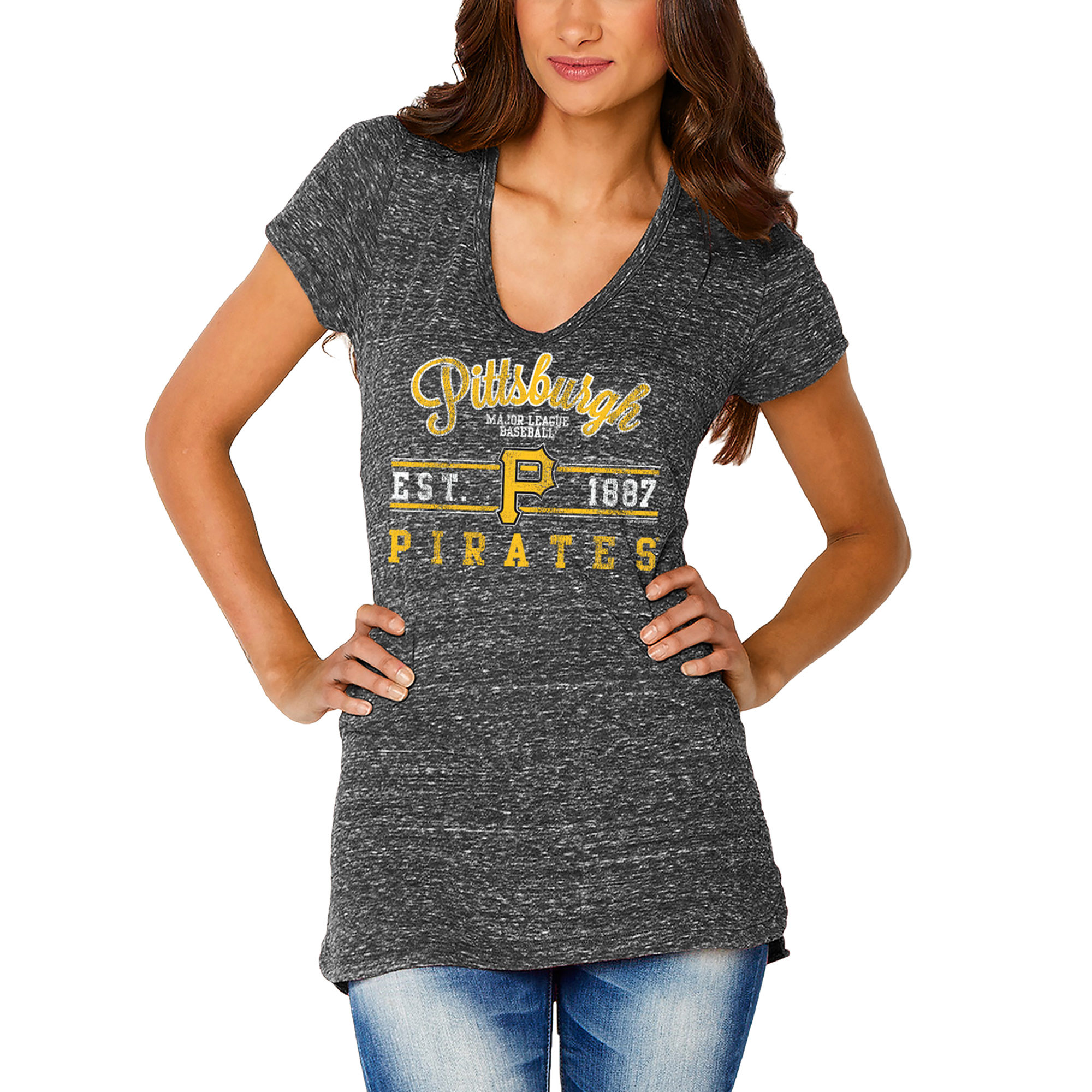 Pittsburgh Pirates Soft as a Grape Women's Double Play V-Neck T-Shirt - Black