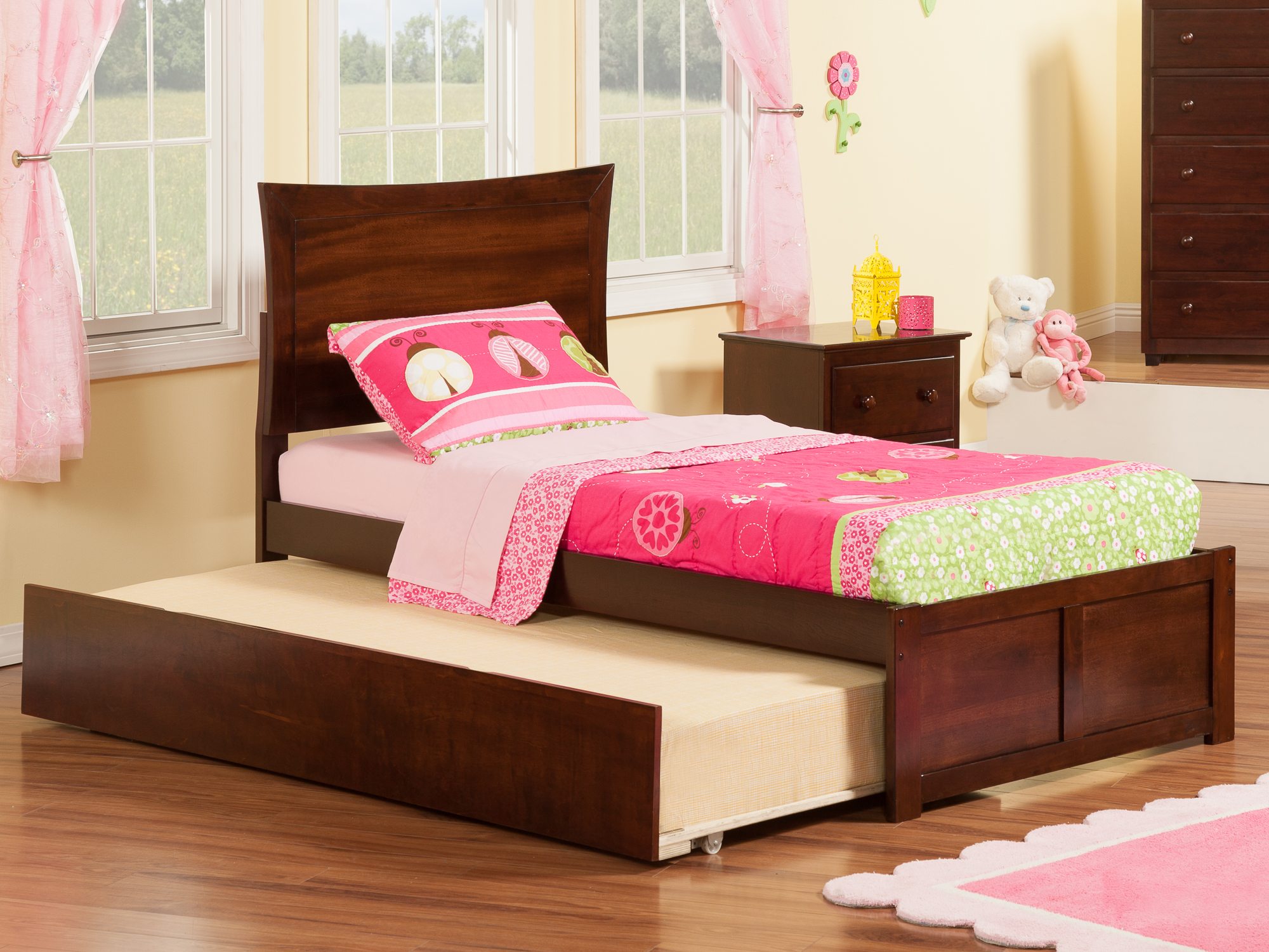 Metro Twin Platform Bed with Flat Panel Foot Board and Twin Size Urban Trundle Bed in Walnut by Atlantic Furniture