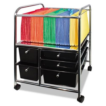 Letter-Legal File Cart with 5 Storage Drawers, 15.25w x 21.88d x 28.88h, Black