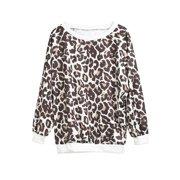 Women Leopard Print Loose Thin T-Shirt Blouse Summer Long Shirts Tee Tops