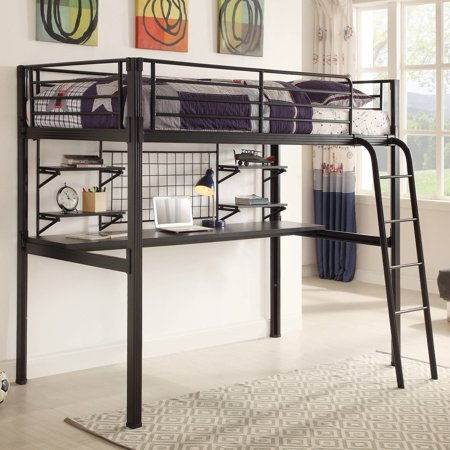 Coaster Twin Metal Loft Bed Over Desk Workstation Black