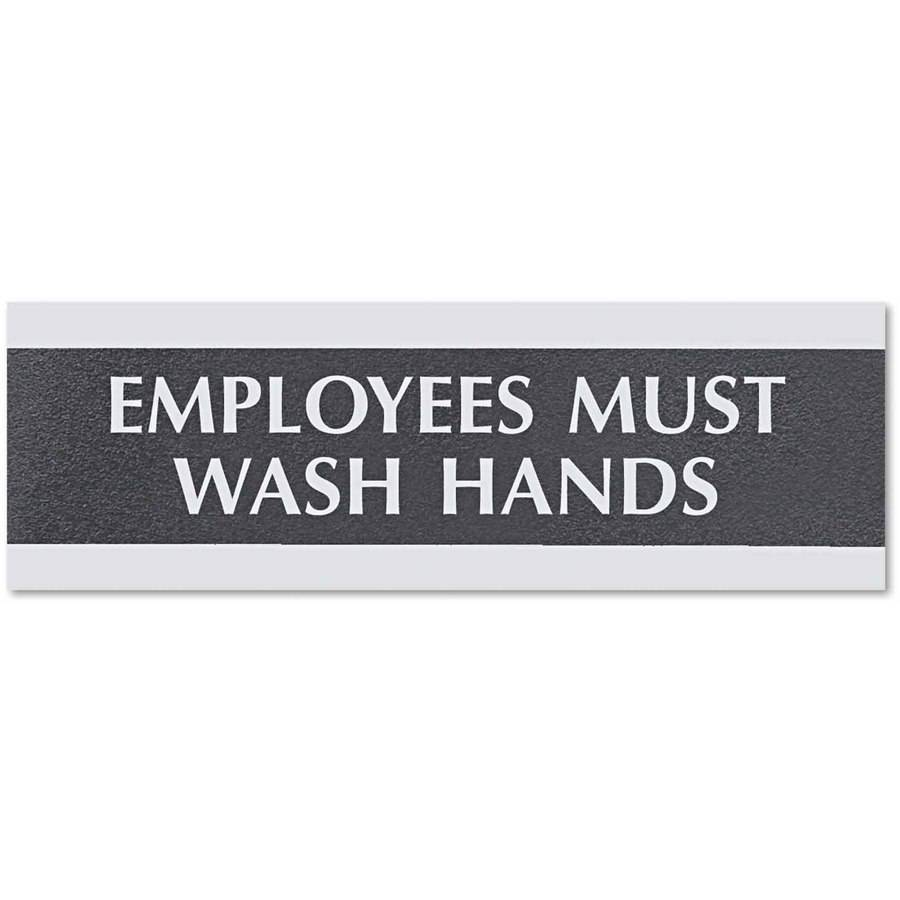 """Headline Sign Century Series Office Sign, Employees Must Wash Hands, 9"""" x 3"""""""