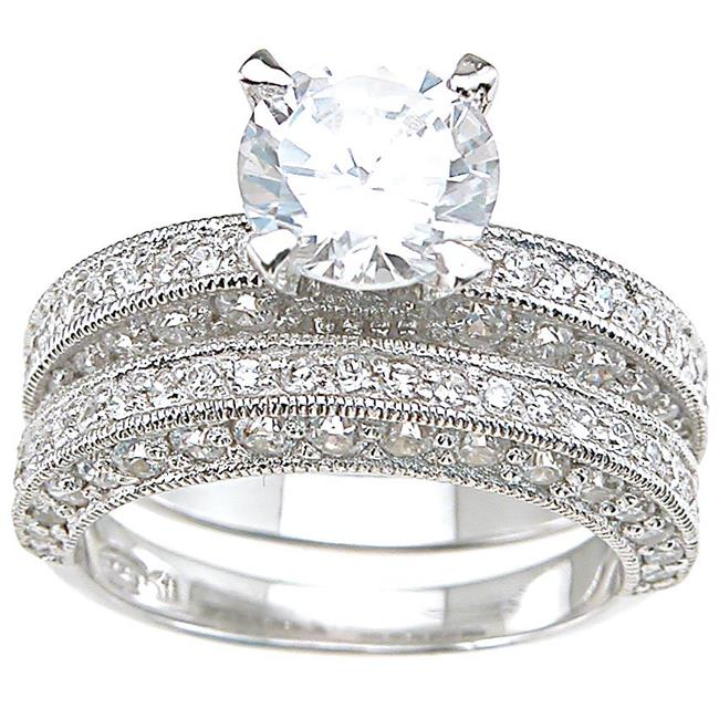 Plutus kkrs6293a 925 Sterling Silver Rhodium Finish CZ Antique Style Wedding Set Ring Size 6