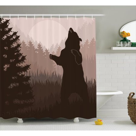 Loon Peak Avers Wild Bear Night Jungle Single Shower Curtain