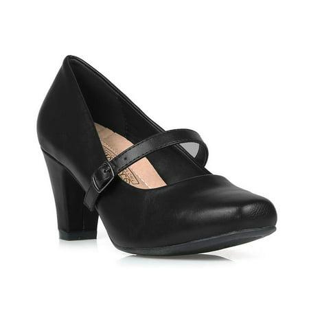 Comfeite Women's Mary Jane High Heel Pump in Black - Double Strap Mary Jane Heels