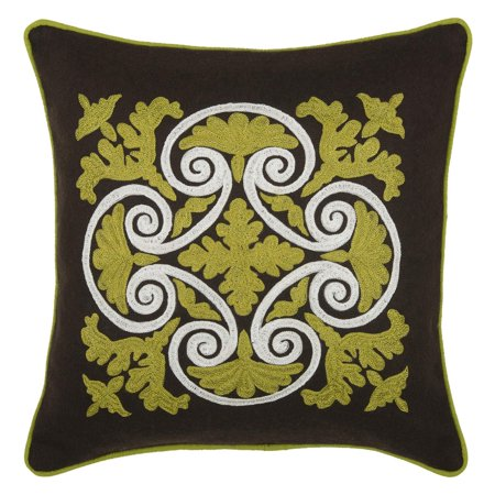 Welted Accent (Rizzy Home Embroidered Wrought Iron Scroll and Welt Decorative Accent Pillow in Green )