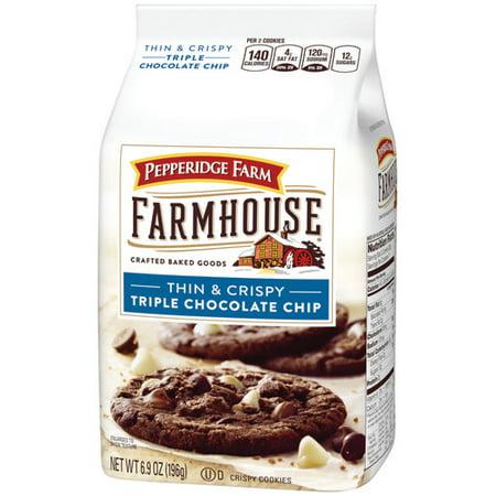 (2 Pack) Pepperidge Farm Farmhouse Thin & Crispy Triple Chocolate Chip Cookies, 6.9 oz.