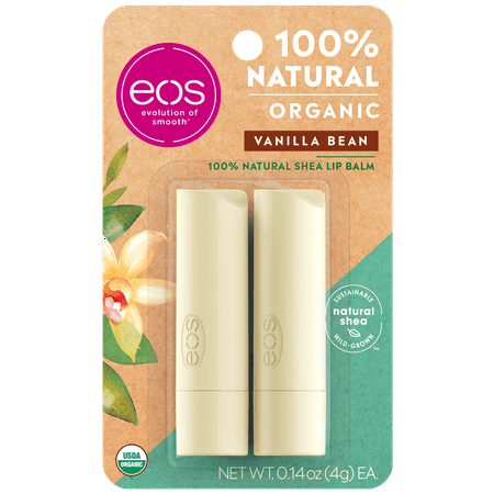 eos 100% Natural & Organic Lip Balm Stick - Vanilla Bean | 0.14 oz | 2 count