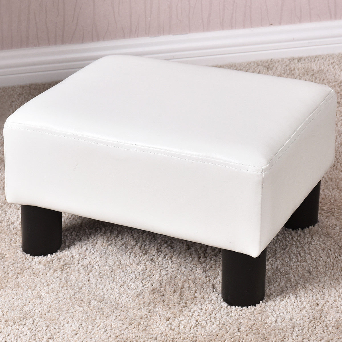 Goplus Small Ottoman Footrest PU Leather Footstool Rectangular Seat Stool White by Goplus
