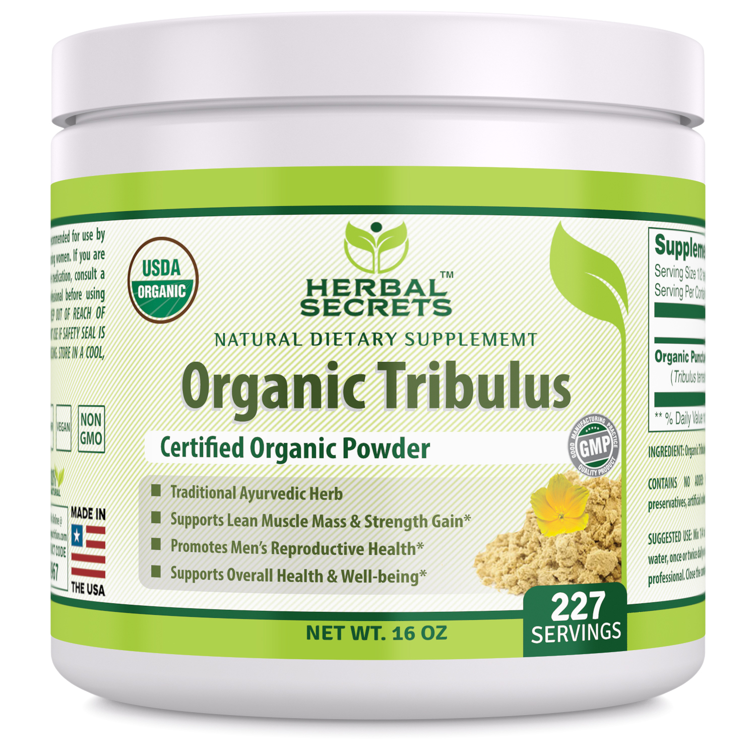 Herbal Secrets Organic Tribulus Powder - 16 Oz Capsules