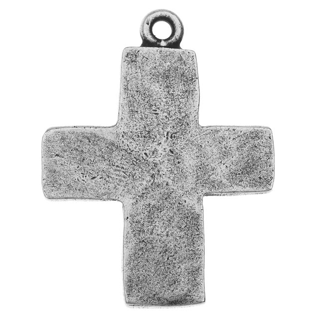Nunn Design Charm, Hammered Cross 21x27.5mm, 1 Piece, Antiqued Silver