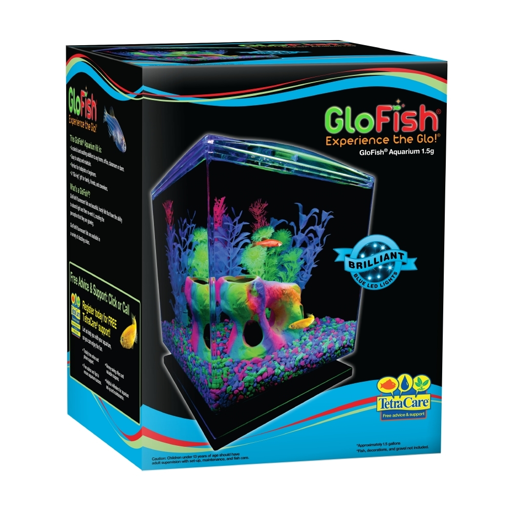 GloFish 1.5 Gallon Aquarium Kit with Hood, LEDs and Whisper Filter
