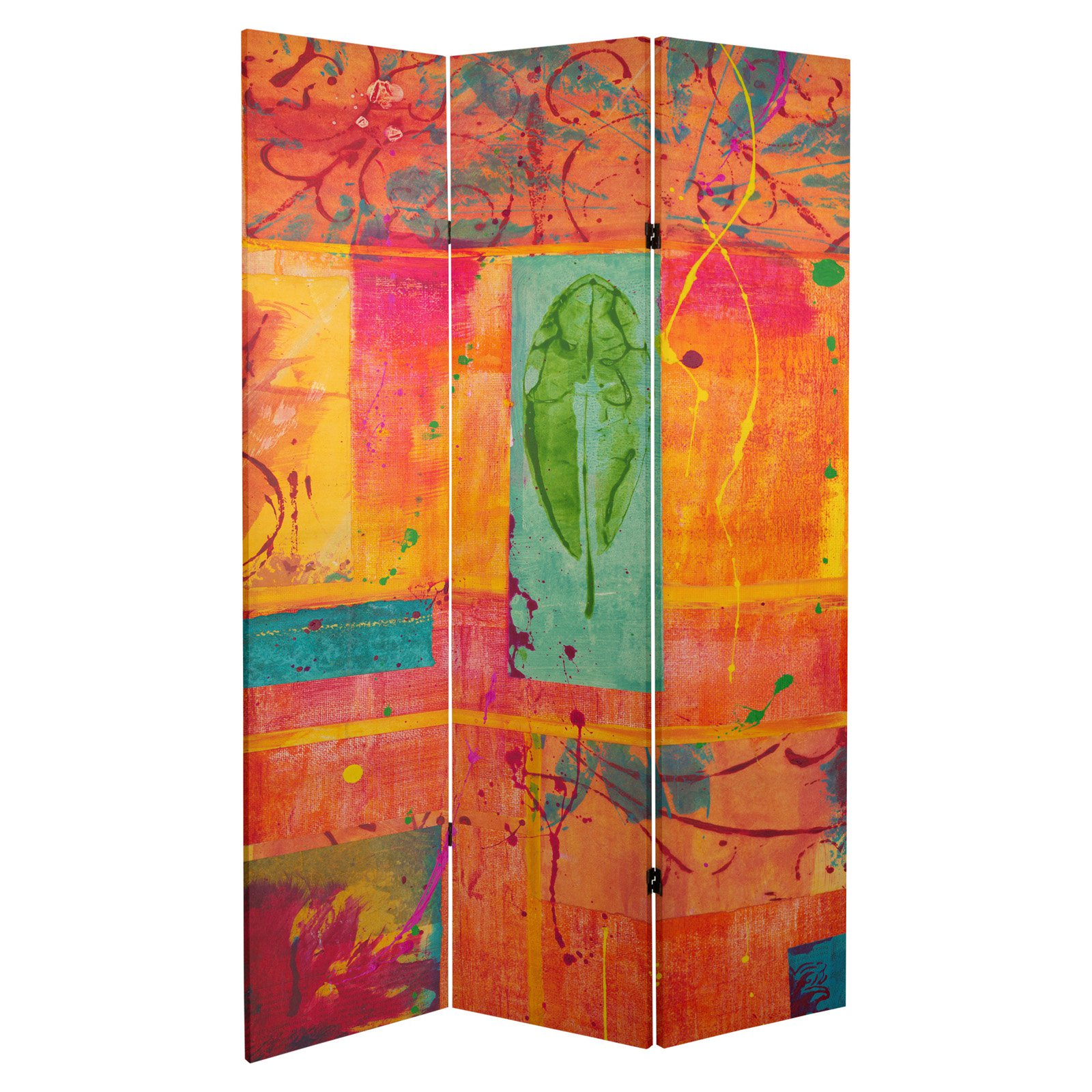 Oriental Furniture Double Sided Tangerine Dream Canvas 3 Panel Room Divider