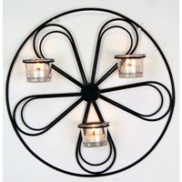 Hosley's 13.5' Round Iron Wall Tea Light Candle Sconce. Ideal Gift for Wall Decor, Weddings, Home, Spa, Aromatherapy, Reiki