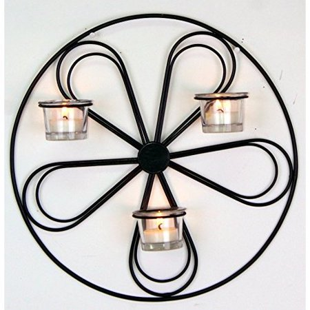 Hosley's 13.5' Round Iron Wall Tea Light Candle Sconce. Ideal Gift for Wall Decor, Weddings, Home, Spa, Aromatherapy, Reiki Billiard Sconce Light