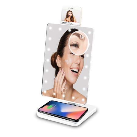 Vivitar Makeup Mirror 10x Magnification with Bluetooth Speakers and Qi Wireless Charging Stand