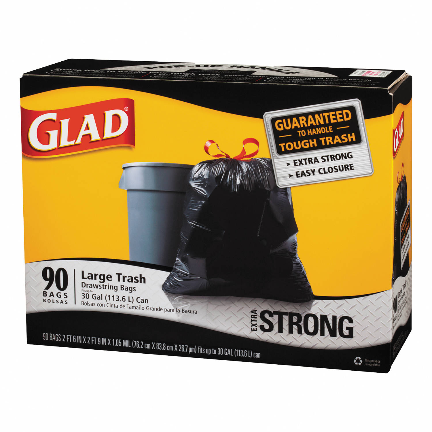 Glad Extra Strong Black Drawstring Large 30 gal. Trash Bags, 90 count