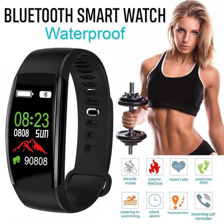 Fitness Tracker Color Screen, IP68 Waterproof Activity Tracker Smart Watch Remote Photography Heart Rate Blood Pressure Blood Oxygen Monitor Step Calorie Counter Pedometer-Black (Blood Counters)